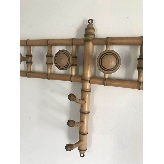 Brown Faux Bamboo Wall Mounted Peg Coat Hat Rack For Sale - Image 8 of 9