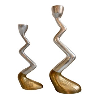 Sculptural Two-Tone Zig Zag Hoof Candle Holders Made in Spain by Art3 Design For Sale