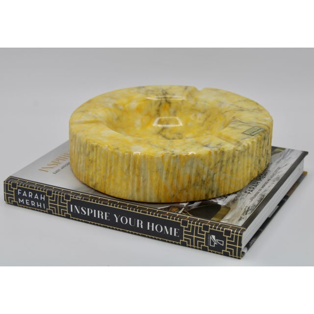 Large Vintage Italian Yellow Marble Ashtray Slab For Sale - Image 10 of 11