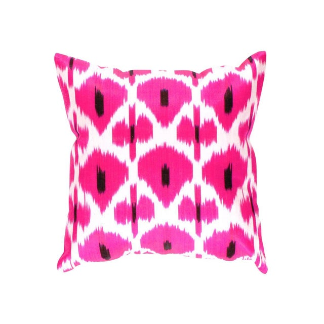 Turkish Rose Hand Knotted Turkish Ikat Pillow Cover For Sale - Image 3 of 5