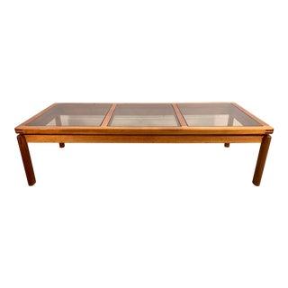 Danish Modern Teak & Smoked Glass Floating Top Coffee Table For Sale