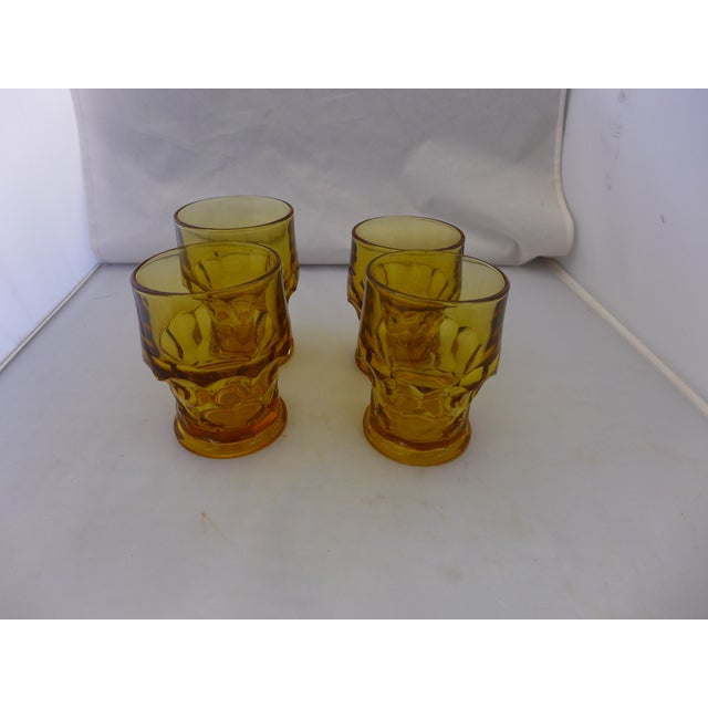 Mid-Century Modern Amber Bar Glasses - Set of 4 For Sale In New York - Image 6 of 6
