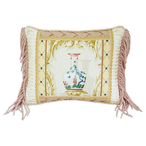 Designer Schumacher Chinese Vase & Silk Pillow - Image 1 of 6