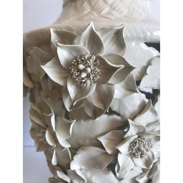 Ceramic 1960's Italian Blanc De Chine Floral Ceramic Pendant Lights For Sale - Image 7 of 13