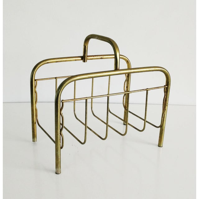 1960s Mid-Century Modern Brass Magazine Rack For Sale - Image 6 of 8