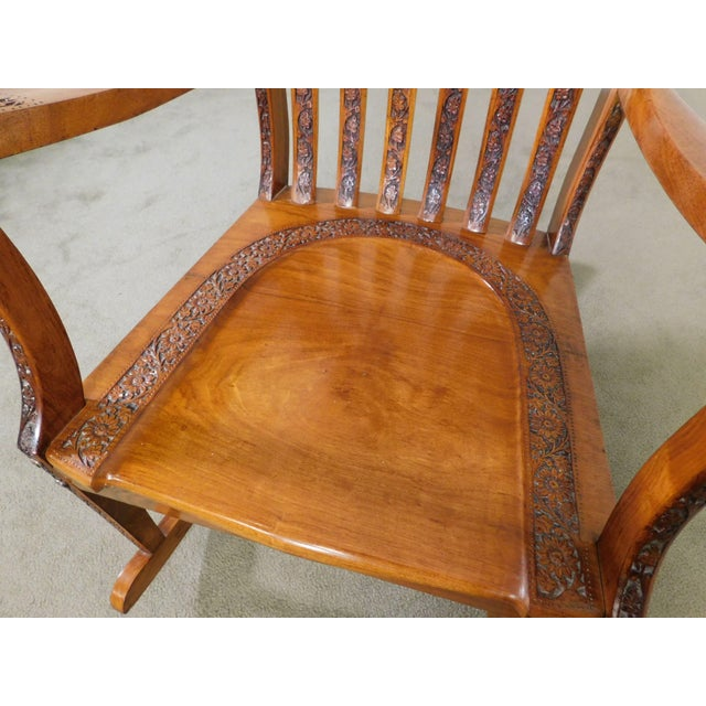 Vintage Indian Carved Hardwood Brass Inlaid Rocker For Sale - Image 9 of 13