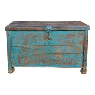 Primitive Turquoise Trunk on Wheels For Sale