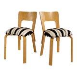 Image of Alvar Aalto Model 66 Chairs in Zebra Hide, Pair For Sale