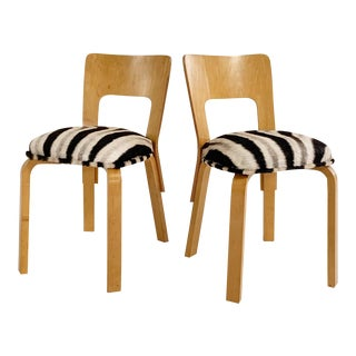 Alvar Aalto Model 66 Chairs in Zebra Hide, Pair For Sale