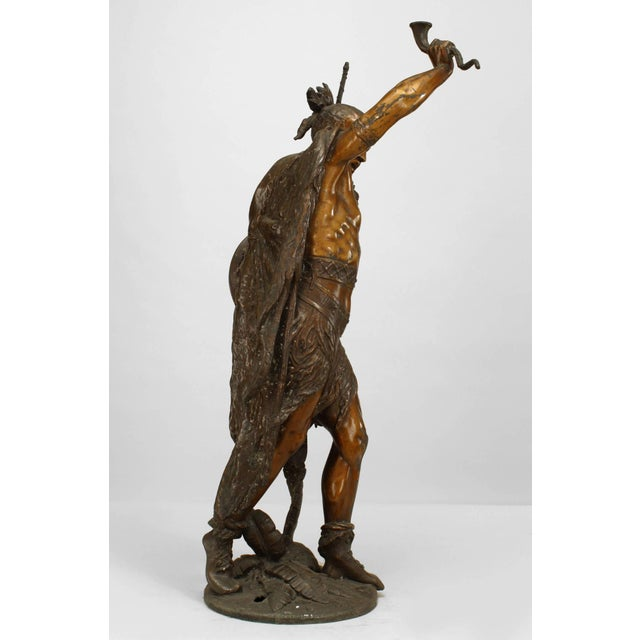 Native American Turn of the Century Lacquered American Indian Warrior Sculpture For Sale - Image 3 of 5