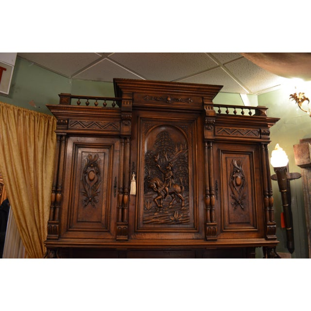 Late 19th Century Antique French Ornate Walnut Hand Carved Figural Gothic Bookcase Cabinet For Sale - Image 5 of 11