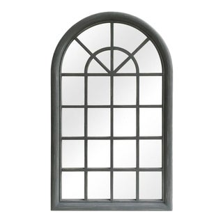Distressed Solid Wood Gray Arched Wood Frame Accent Mirror For Sale