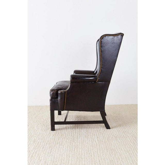 English Georgian Style Black Leather Wingback Armchair For Sale In San Francisco - Image 6 of 13