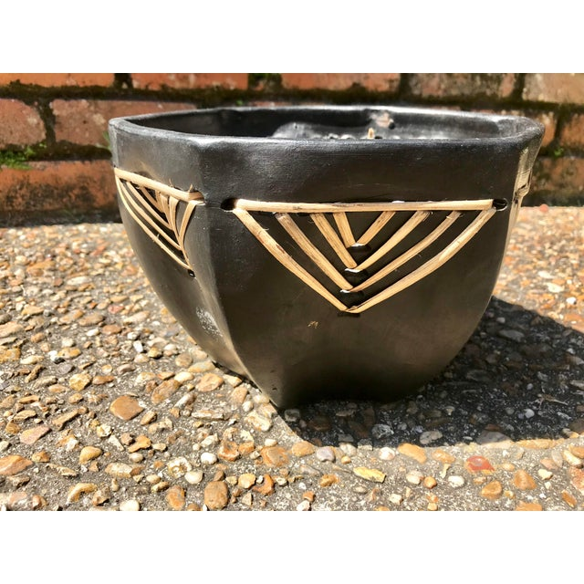 Vintage Handmade Clay Bowl With Straw Detailing For Sale - Image 4 of 10