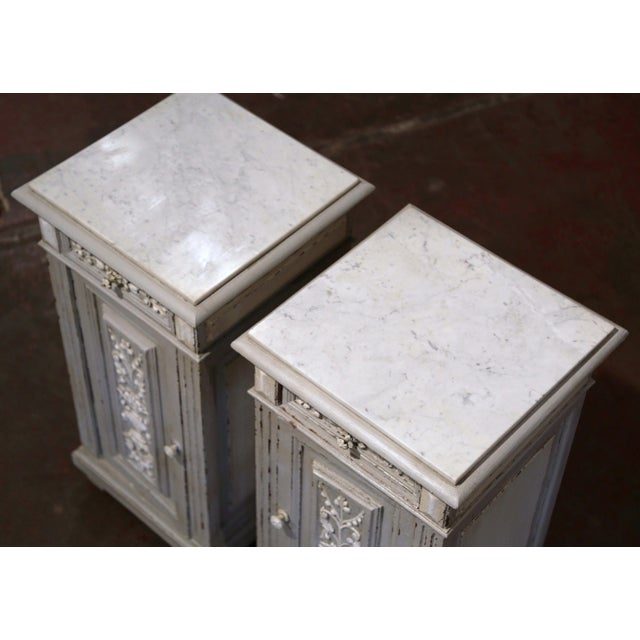 Pair of 19th Century French Carved Painted Nightstands With Marble Top For Sale In Dallas - Image 6 of 10