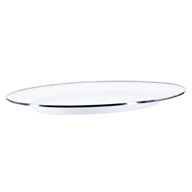 Modern Oval Platter White on White For Sale - Image 3 of 3