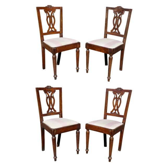 Set of Four Italian Neoclassic Walnut Side Chairs For Sale