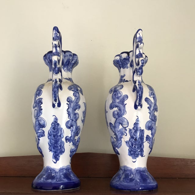 1970s Portuguese Blue White Ceramic Vases - a Pair For Sale - Image 4 of 8