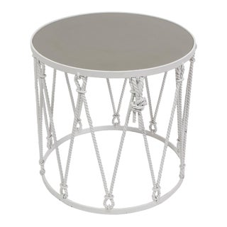 Iron Drum Side Table For Sale
