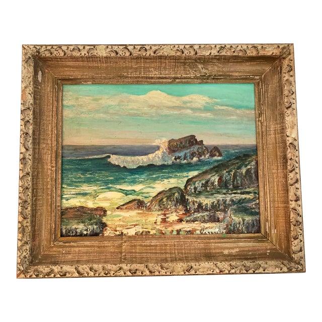 1960s Rocky Beach Seascape Oil Painting, Framed For Sale
