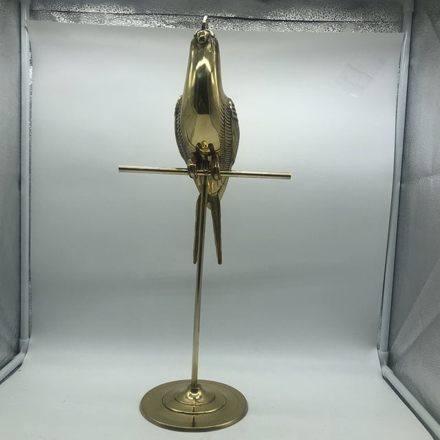 1970s Hollywood Regency Mid Century Solid Brass Cockatoo on Perch Figurine For Sale - Image 5 of 13