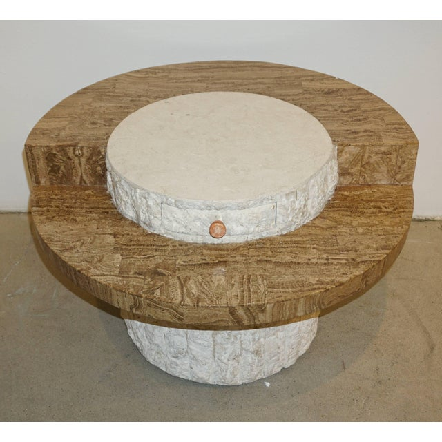 White 1970s Marzio Cecchi Italian Vintage White and Ochre Stone Round Side/Sofa Table For Sale - Image 8 of 12