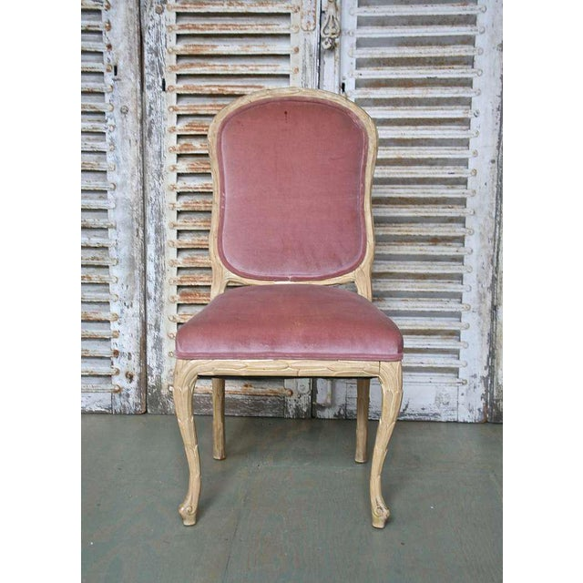 Pink 1960s Hollywood Regency Hand-Carved Dining Chairs - Set of 6 For Sale - Image 8 of 11