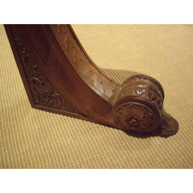 Pair of Large 19th Century Italian Walnut Architectural Brackets For Sale - Image 4 of 10