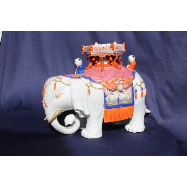 Asian Chinese Porcelain Elephant For Sale - Image 3 of 7