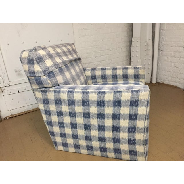 These fine arm chairs are constructed of the finest Kravet frame, and upholstered in soft blue and cream brunschwig & fils...