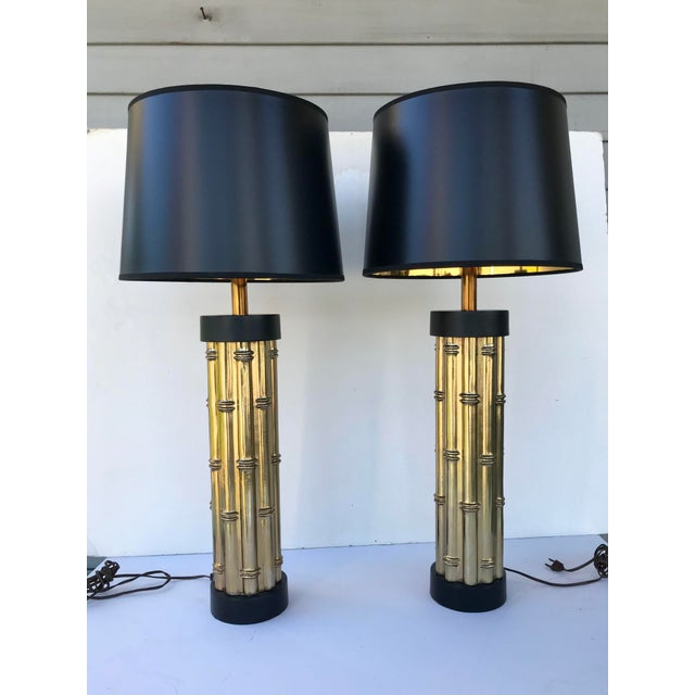 Black Mid Century Faux Bamboo Metal Lamps - a Pair For Sale - Image 8 of 8