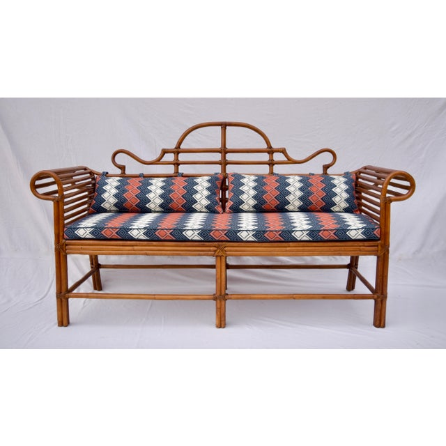 Lane Furniture Bamboo Caned Rattan Chinoiserie Sofa For Sale - Image 13 of 13