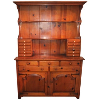 Handmade Signed and Dated Pine Stepback Apothecary or Hutch For Sale