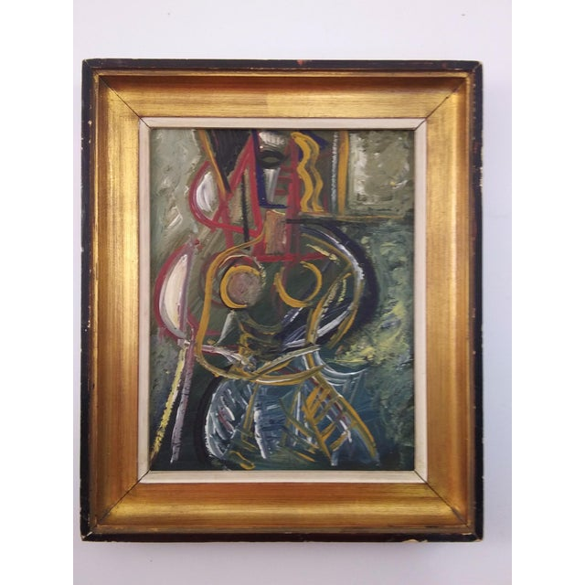 Vintage Mid-Century Cubist Inspired Female Portrait Painting For Sale In Atlanta - Image 6 of 6