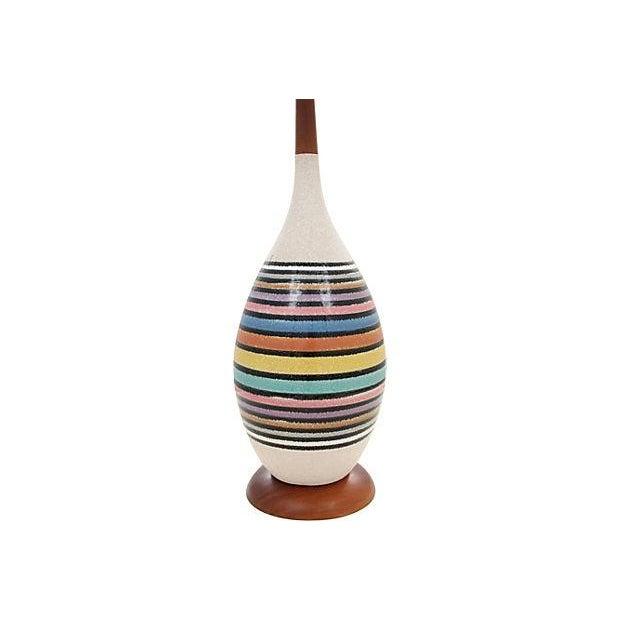 Mid-Century Multicolor Stripe Lamp - Image 3 of 9