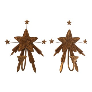 Gilt Star Candle Sconces - a Pair For Sale