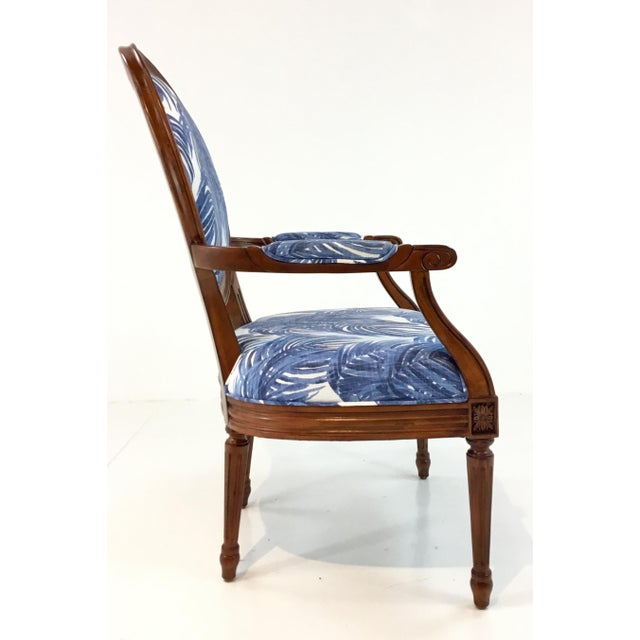 2010s Port 68 French Style Blue Palm Print Avery Arm Chair For Sale - Image 5 of 7