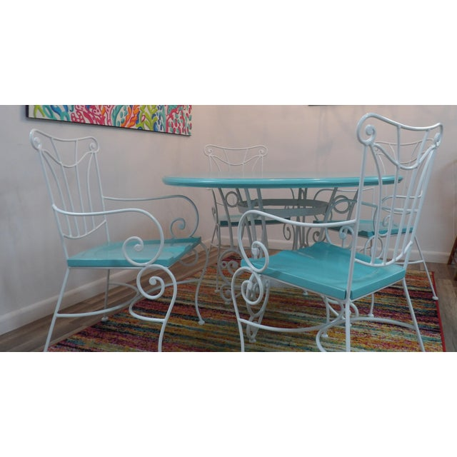 Mid-Century Modern Vintage Turquoise and White Wood & Iron Dining Set For Sale - Image 3 of 12