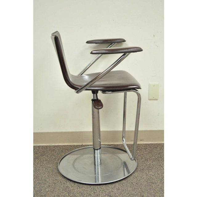 Serico Contemporary Italian Modern Brown Leather Chrome Adjust Bar Stool Chair B For Sale In Philadelphia - Image 6 of 11