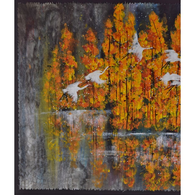 2000 - 2009 Chinese Yongqun Guo Painting, Cranes Flying Against Autumn Trees For Sale - Image 5 of 13