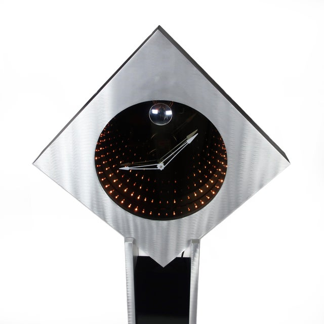 Brushed Aluminum Infinity Clock With Stand For Sale In New York - Image 6 of 13