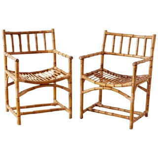 Important Pair of Early McGuire Bamboo Rattan Armchairs For Sale