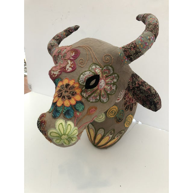 American Handmade Mixed-Media Wall Sculpture of Bull's Head With Horns For Sale - Image 3 of 10
