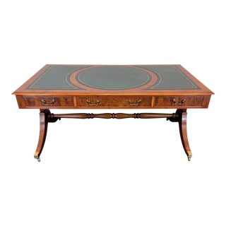 English Yew Wood & Leather Regency Style Trestle Partner Desk For Sale