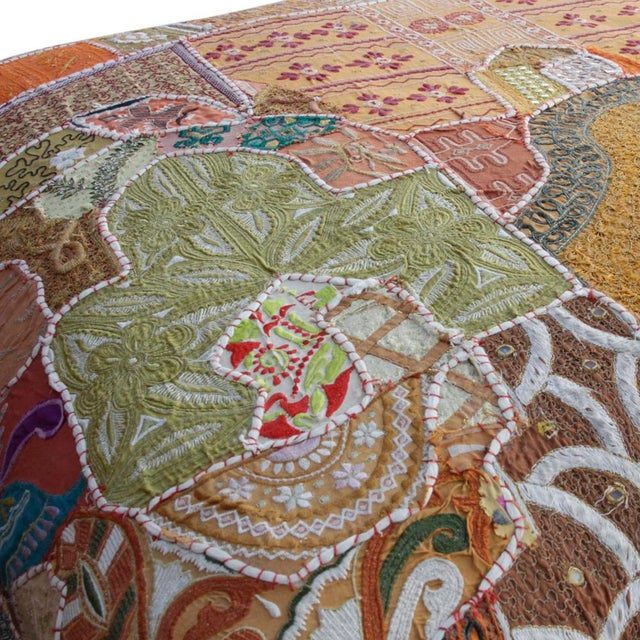 Vintage Hand-Sewn Tapestry Ottoman For Sale - Image 5 of 6