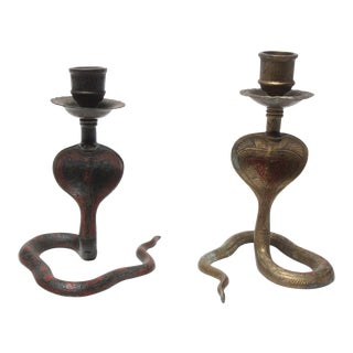 Vintage Hammered and Painted Brass Cobra Candlesticks