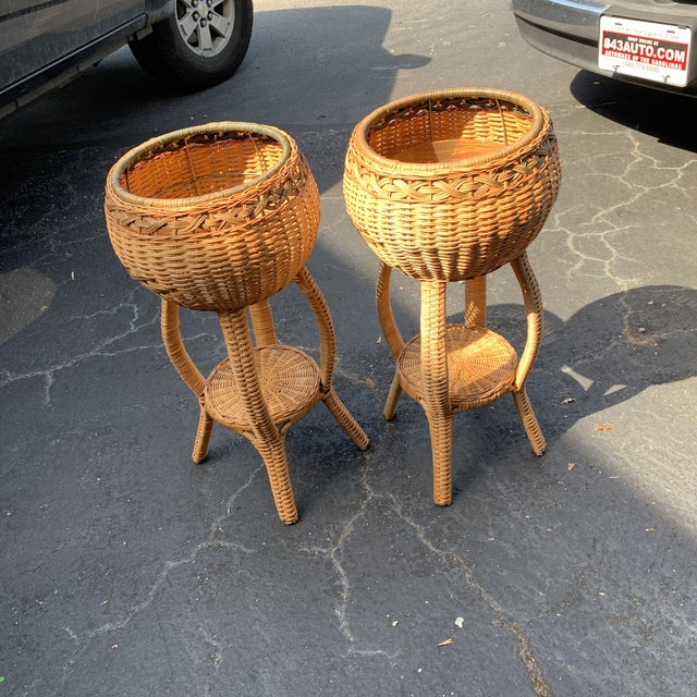 1970s Rattan Plant Stands - a Pair For Sale In Charleston - Image 6 of 6