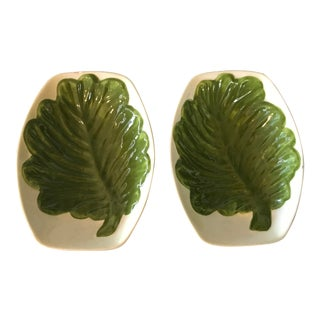 Vintage California Pottery Serving Bowls Green Leaf - a Pair For Sale