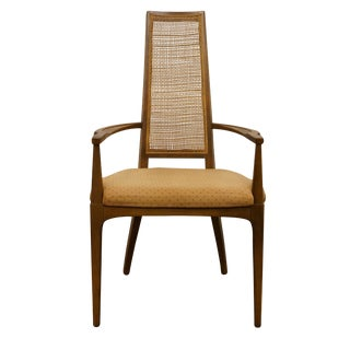 Lane Furniture Asian Inspired Mid Century Modern Cane Back Dining Arm Chair For Sale