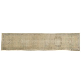 "Vintage Distressed Oushak Rug Runner - 2'7"" X 11'2"" For Sale"